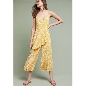 Anthro Maeve Yellow Brittany Printed Jumpsuit